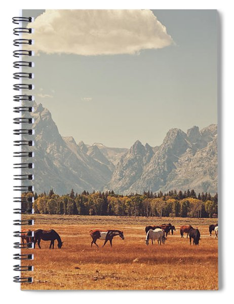 Horses Grazing In Front Of The Teton's Spiral Notebook