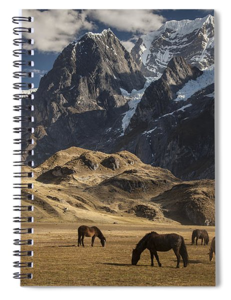 Horses Grazing Under Siula Grande Spiral Notebook