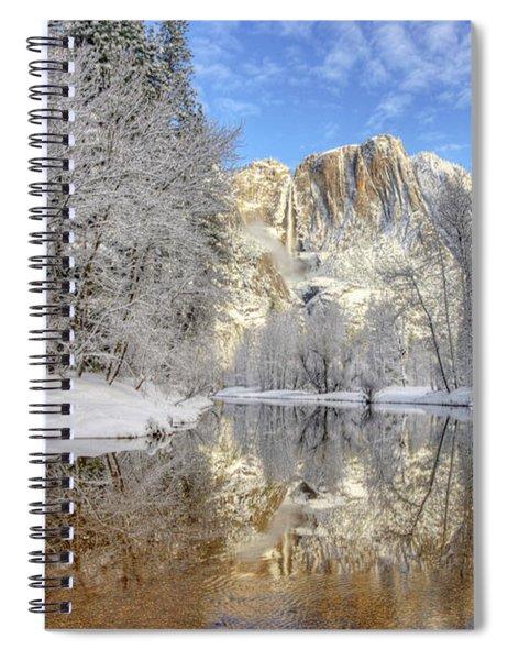 Horsetail Fall Reflections Winter Yosemite National Park Spiral Notebook