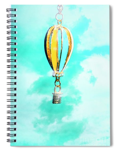 Hot Air Balloon Pendant Over Cloudy Background Spiral Notebook