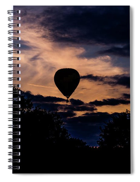 Spiral Notebook featuring the photograph Hot Air Balloon Silhouette At Dusk by Scott Lyons