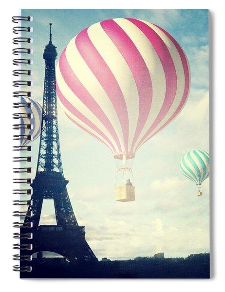 Hot Air Balloons In Paris Spiral Notebook