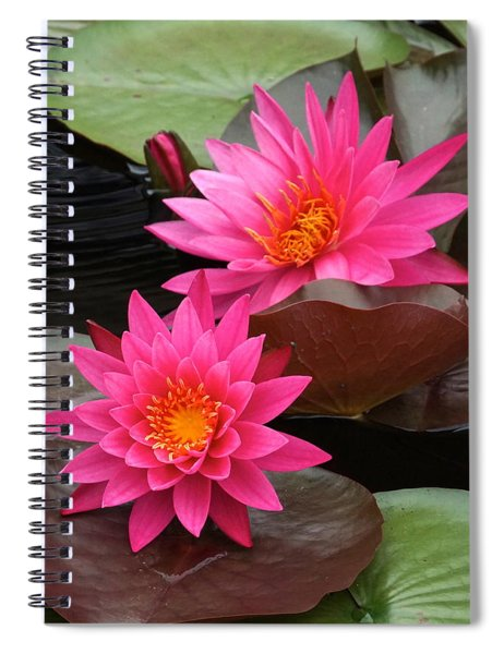 Hot Pink Twin Tropical Waterlily Charm Spiral Notebook