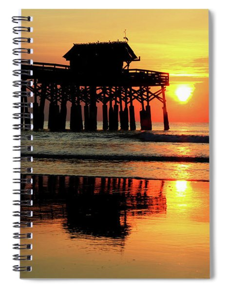 Hot Sunrise Over Cocoa Beach Pier  Spiral Notebook