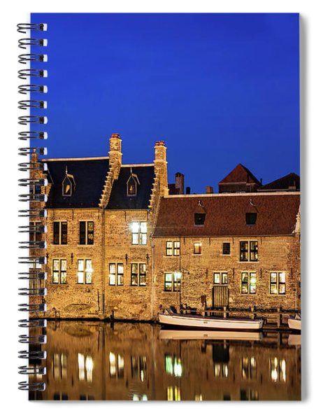 Spiral Notebook featuring the photograph Houses By A Canal - Bruges, Belgium by Barry O Carroll