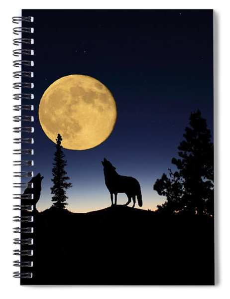 Howling At The Moon Spiral Notebook
