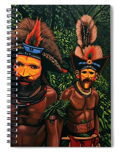 Huli Men In The Jungle Of Papua New Guinea Spiral Notebook