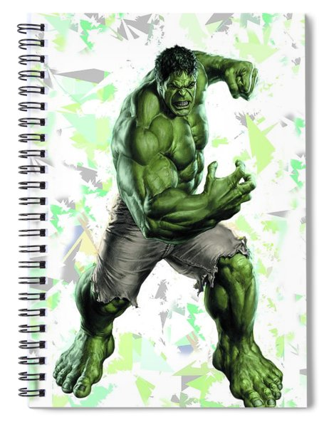 Spiral Notebook featuring the mixed media Hulk Splash Super Hero Series by Movie Poster Prints