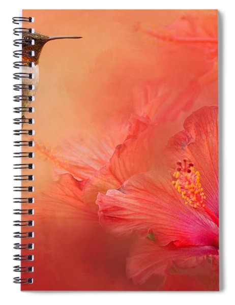 Hummingbird And Peach Hibiscus Spiral Notebook