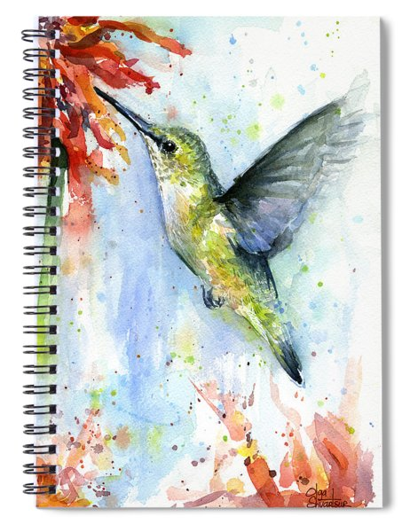 Hummingbird And Red Flower Watercolor Spiral Notebook