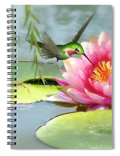 Hummingbird And Water Lily Spiral Notebook