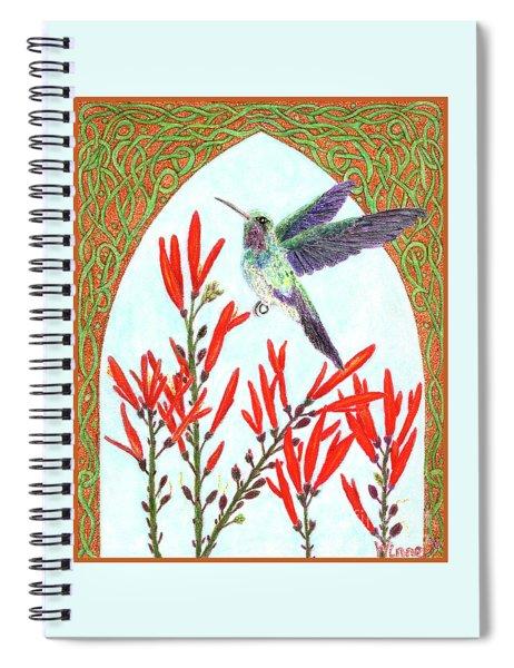 Hummingbird In Opening Spiral Notebook