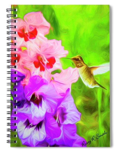 Hummingbird On Gladiolas. Spiral Notebook