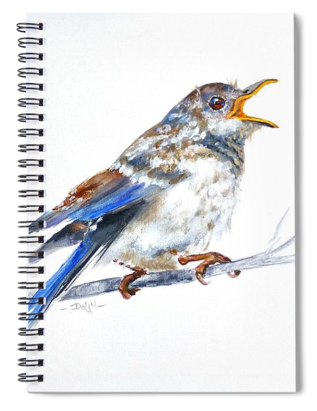 Hungry Fledgling Blue Bird Spiral Notebook