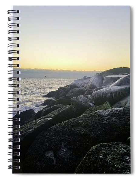 Ice On The Jetty At Dawn Spiral Notebook