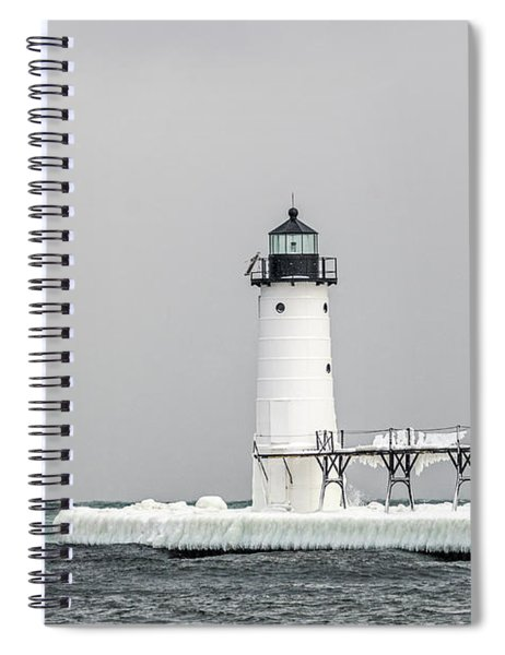 Ice On The Pier At Manistee Light Spiral Notebook