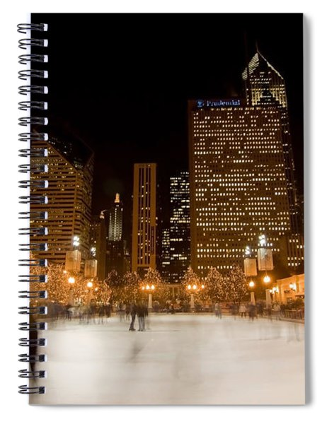 Ice Skaters And Chicago Skyline Spiral Notebook