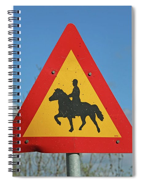 Icelandic Horse Crossing Sign Spiral Notebook