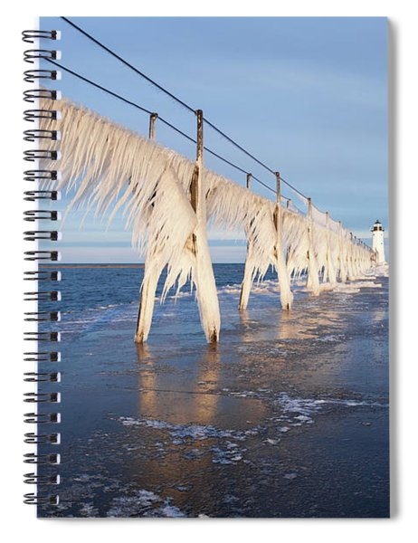 Icy Manistee Pierhead Lighthouse Spiral Notebook
