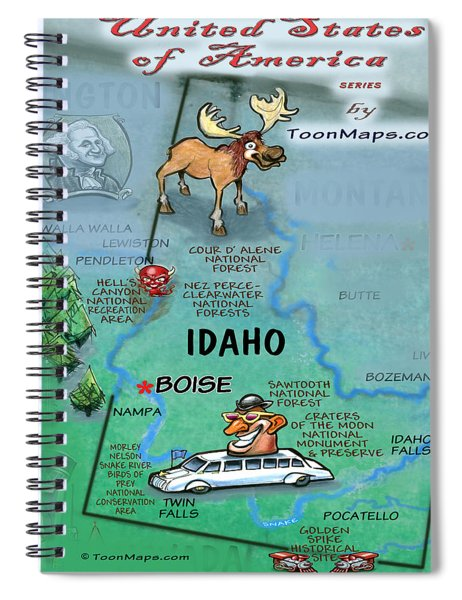 Idaho Fun Map Spiral Notebook