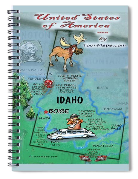 Idaho Fun Map Spiral Notebook