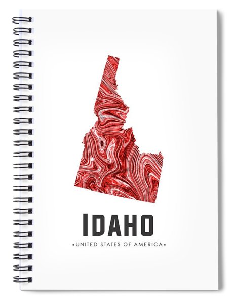 Idaho Map Art Abstract In Red Spiral Notebook