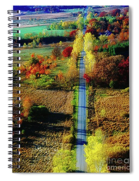 Illinois Country Road Tree Top Sunset Fall  Spiral Notebook
