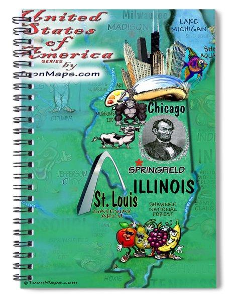 Illinois Fun Map Spiral Notebook