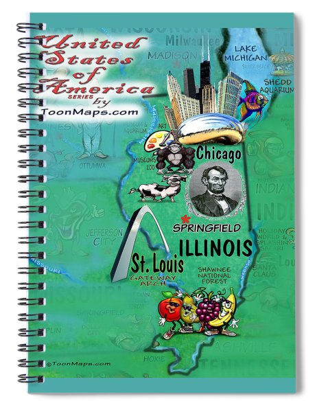 Illinois Fun Map Spiral Notebook