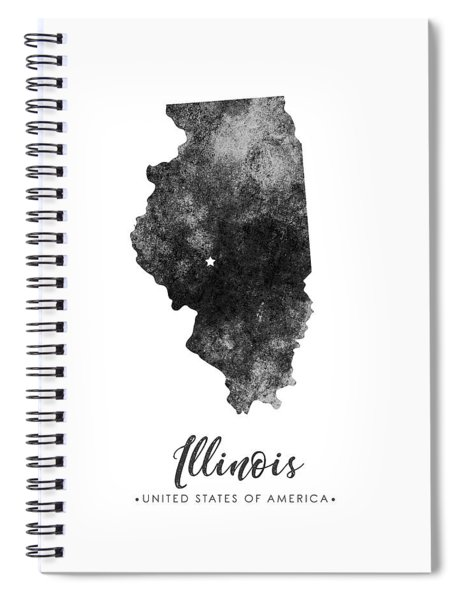 Illinois State Map Art - Grunge Silhouette Spiral Notebook