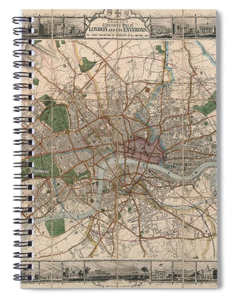 Illustrated Plan Of London And Its Environs - Map Of London - Historic Map - Antique Map Of London Spiral Notebook