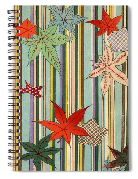 Illustration Of Autumn Leaves On A Striped Background Spiral Notebook
