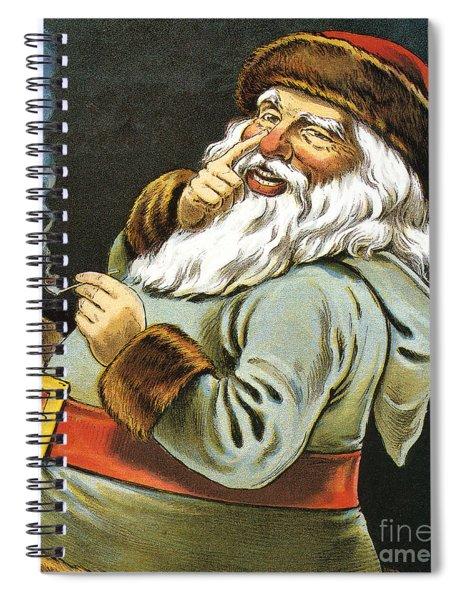 Illustration Of Santa Claus Smoking A Pipe Spiral Notebook