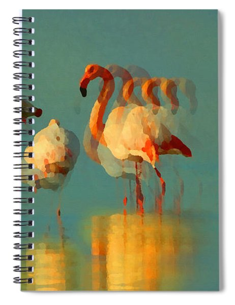 Impressionist Flamingo Abstract Spiral Notebook by Shelli Fitzpatrick