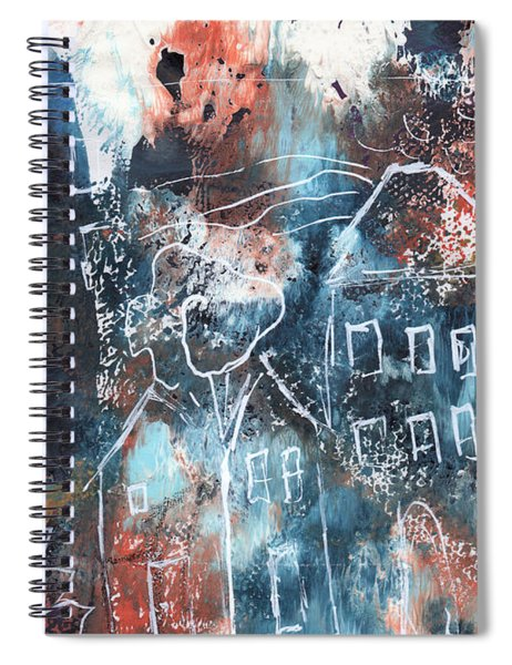 In A Northern Town- Abstract Art By Linda Woods Spiral Notebook