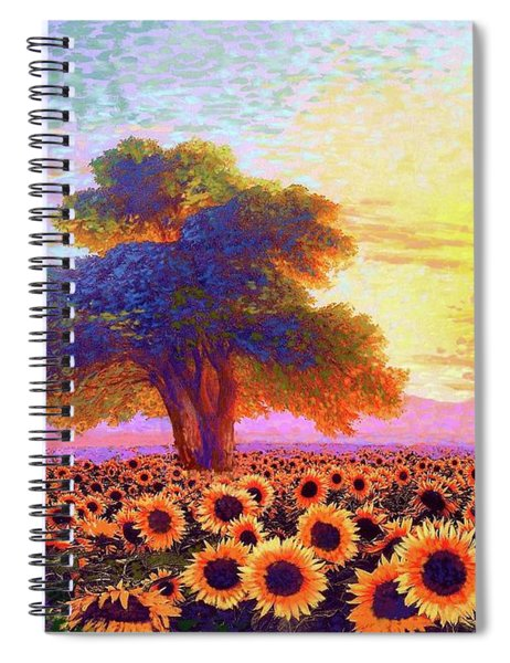 In Awe Of Sunflowers, Sunset Fields Spiral Notebook