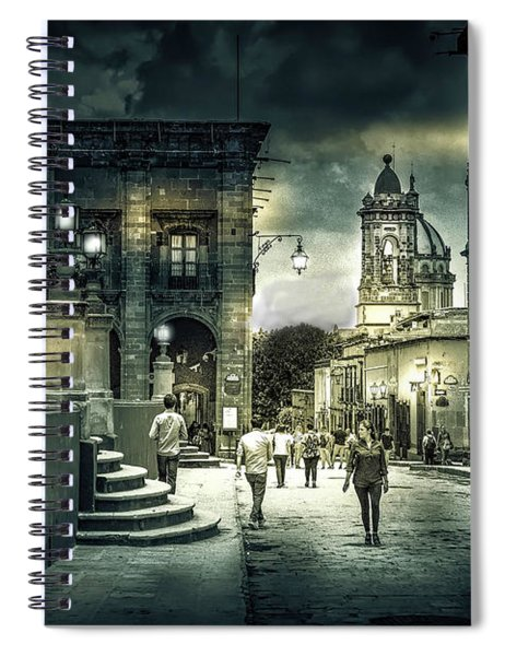 In Town Black And White Spiral Notebook