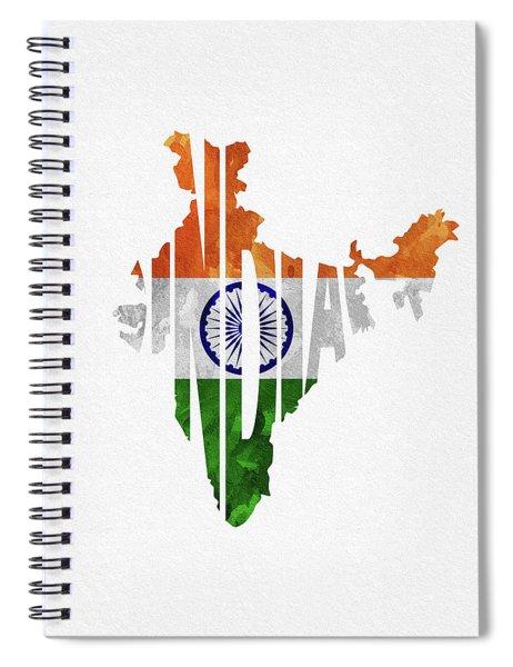 India Typographic Map Flag Spiral Notebook