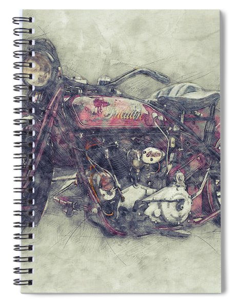 Indian Chief 1 - 1922 - Vintage Motorcycle Poster - Automotive Art Spiral Notebook