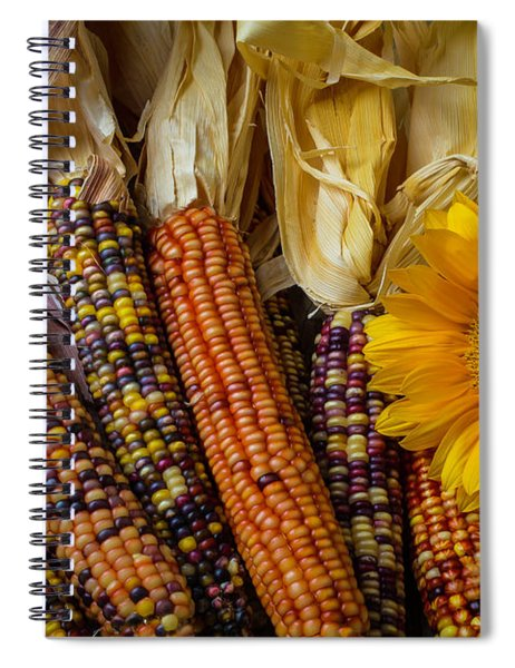Indian Corn And Sunflowers Spiral Notebook