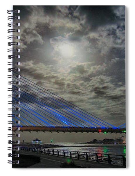 Indian River Bridge Moonlight Panorama Spiral Notebook