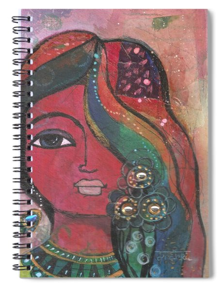 Indian Woman With Flowers  Spiral Notebook