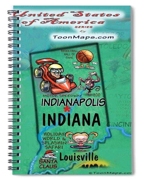 Indiana Fun Map Spiral Notebook