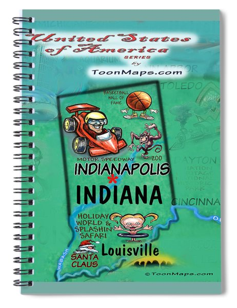 Indiana Fun Map Spiral Notebook