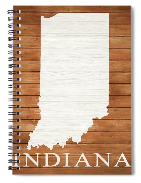 Indiana Rustic Map On Wood Spiral Notebook