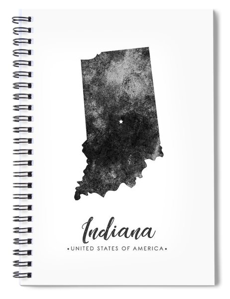 Indiana State Map Art - Grunge Silhouette Spiral Notebook