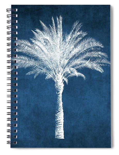Indigo And White Palm Tree- Art By Linda Woods Spiral Notebook