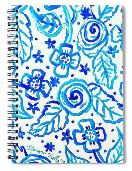Indigo Blooms Spiral Notebook
