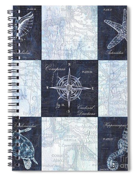Indigo Nautical Collage Spiral Notebook