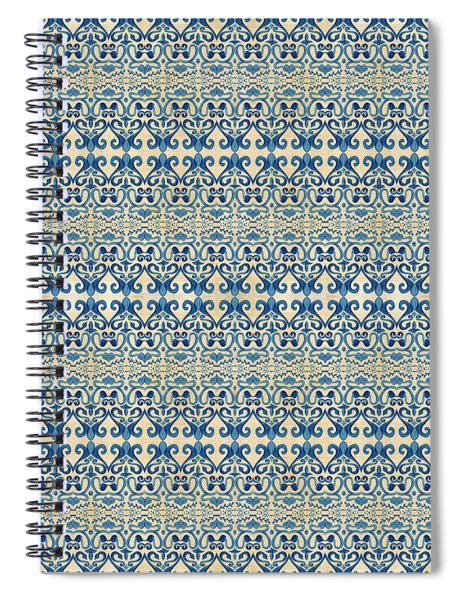 Indigo Ocean - Caribbean Tile Inspired Watercolor Swirl Pattern Spiral Notebook